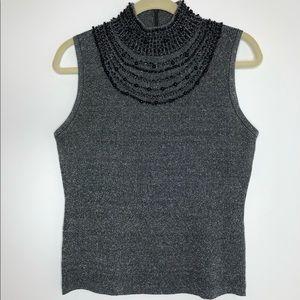 Grace Elements gray sleeveless sweater w/ beading